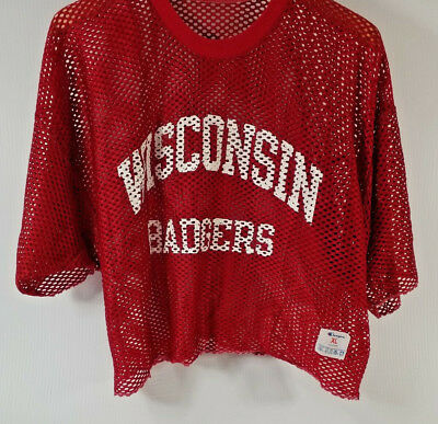bc7f2e2c0 vtg 1980 s Wisconsin Badgers Champion USA Pratich Short Mesh Football Jersey  XL