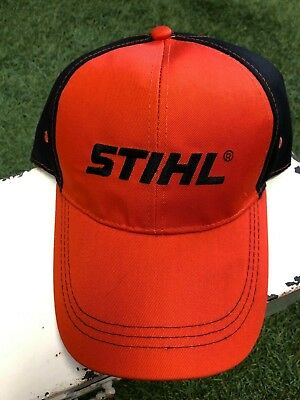 los angeles ef4f7 25cb5 Stihl Orange Black Embroidered Mesh Baseball Trucker Hat or Cap (Adjustable)