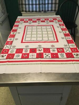 """Vintage White with Red Folk Tablecloth Bird Heart Tulip Flower 50"""" x 45"""" CUTTER?"""