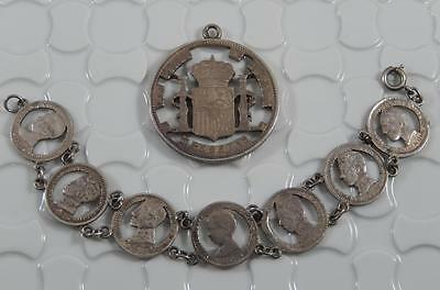 Vintage Cut Out Coin Spain 5 Pesetas Pendant & 50 Centavos Bracelet Set  C0443