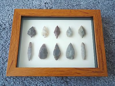 Neolithic Arrowheads in 3D Picture Frame, Authentic Artifacts 4000BC (0451)