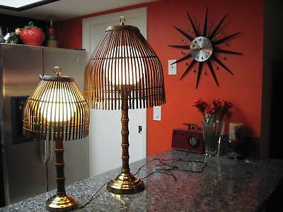 Mid-Century Modern Wooden/Bamboo/Wicker Rattan Table Lamps W/Glass Globs Pair