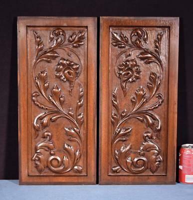 *Pair of Antique French Highly Carved Panels in Walnut Wood Salvage with Faces
