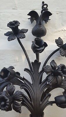 Antique Hand-wrought- Iron Arts & Craft style Floral display , daffodils V.Heavy