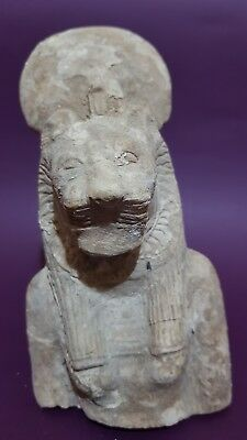 ANCIENT EGYPTIAN ANTIQUES Half STATUE Of GODDESS SEKHMET EGYPT LIME STONE BC