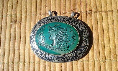 Antique Chinese Carved Jade Pendant Sterling Silver Oriental Jewellry