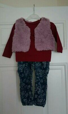 Baby Girls outfit Long sleeve Top,jeans and fur Gillet Next,M&S 12-18 Months