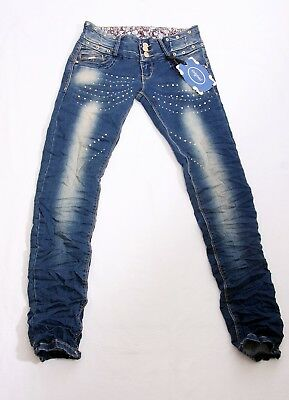 Women's Studded Diamante Floral Blue Jeans,Skinny Slim Trousers Size 6,10,12 UK