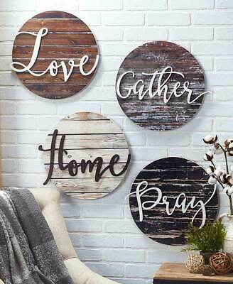 Home Wall Decor Wood Art Sentiment Plaques Rustic Signs Love Gather