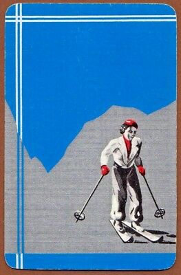 Playing Cards 1 Single Swap Card - Old Vintage Art Deco SKIING LADY GIRL SKIER