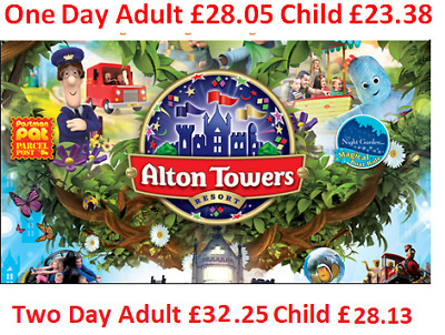 Alton Towers upto 49% off Discount One Day Ticket £28.05 or £32.25 for 2 Days