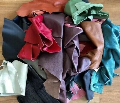 1kg Assorted SCRAP LEATHER cowhide OFF CUTS. Mix Colours/thickness