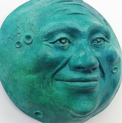 Turquoise Full-Moon Sculpture, Handcrafted Hand-Painted Claybraven Original