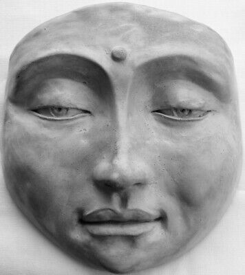 Handcrafted Gray Buddha Wall Hanging, Unique Original Sculpture by Claybraven