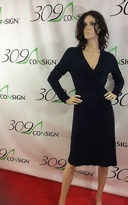 a7f071380599 New Boden Women s 10 Medium Navy Blue Viscose Stretch Jersey Wrap Dress M