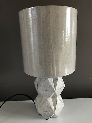 Pair Of Better Homes and Gardens White Wash Faceted Faux Wood Table Lamp Nwob