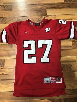 c555406d4 Vtg Wisconsin Badgers Football Jersey  27 Sewn Stitched Boys Small NCAA Red  GUC