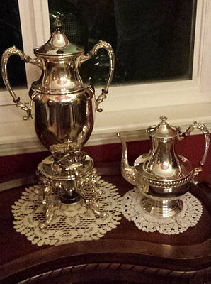 Antique Sheridan Silver on Copper Coffee Pot and SAMOVAR Urn (2) Coffee, Tea Pot