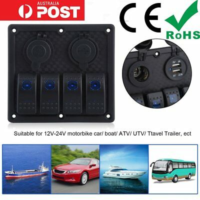 4 Gang LED Rocker Switch Panel Circuit Breakers USB Chargers for RV Boat Marine