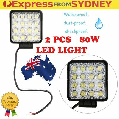 2x Square 80W LED Work Light Flood Lamp Offroad Tractor Truck 4WD SUV 12V 24V P