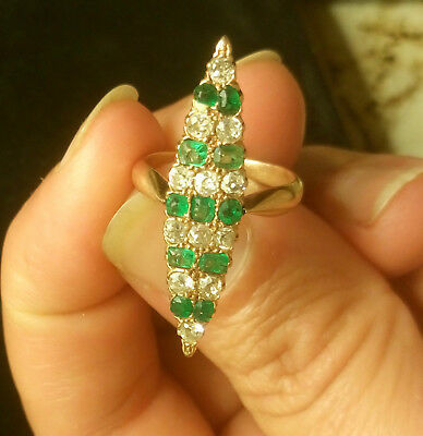 Vintage or antique emerald and diamond cocktail ring 20s-50s estate small size