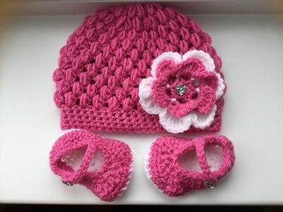 Baby Girls Rose Pink And White Crochet Beanie Hat And Booties3-6 Months