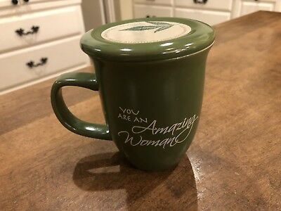 Abbey Gift Amazing Woman Green Lidded Ceramic Mug and Coaster Proverbs 31:29