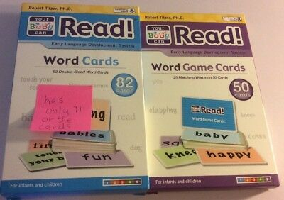 Your Baby Can Read 2 Sets Of Word Cards Educational Reading