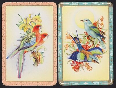 2 Single VINTAGE Swap/Playing Cards BIRDS FLOWERS ORCHIDS Gold Detail Borders