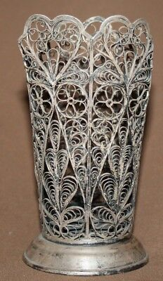 Antique Russian ornate silver plated filigree vase holder