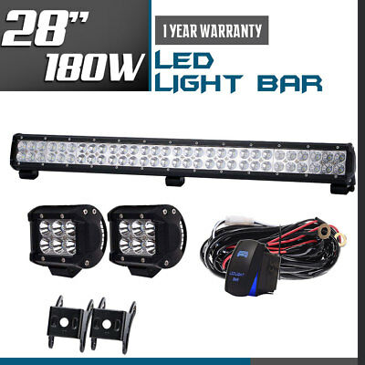 28inch 180W LED Work Light Bar Flood Spot Combo Driving Lamp Offroad UTV SUV 4WD
