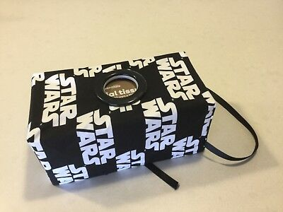 Black/White Writting, Hanging Tissue Box Cover,with a Circle Opening, Handmade