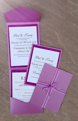 10 x HANDMADE PERSONALISED PURPLE GLITTER POCKETFOLD WEDDING INVITES FREE RSVP