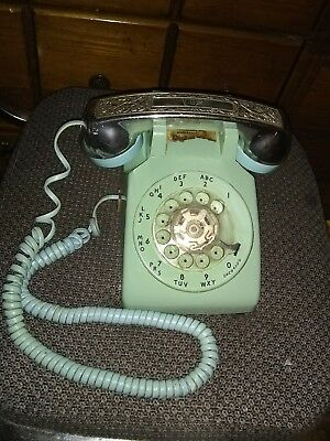 RARE  Vintage Antique Rotary Telephone- Mint Green  great original condition