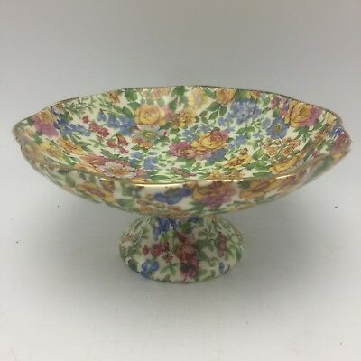 Vintage CHINTZ Compote Windsor floral Czechoslovakia Textured Gold Edge Scallop