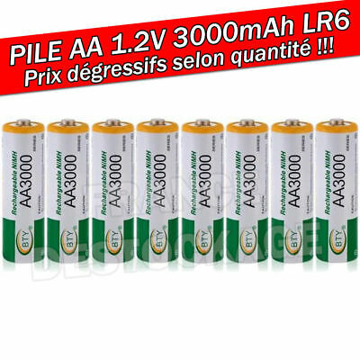 PILE ACCU BATTERIE RECHARGEABLE AA LR06 3000mAh 1.2V NI-MH NIMH LR6 R06 R6 2A