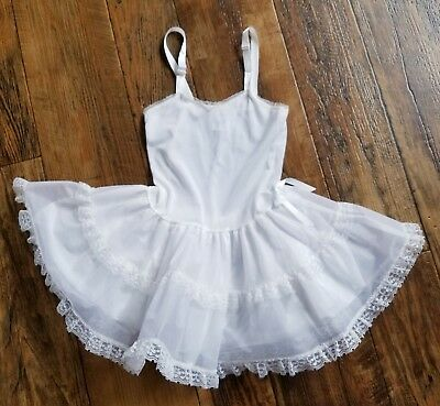 Vtg Moonbeams White Full Slip Petticoat Crinoline Nylon Lace Girls Dress 5