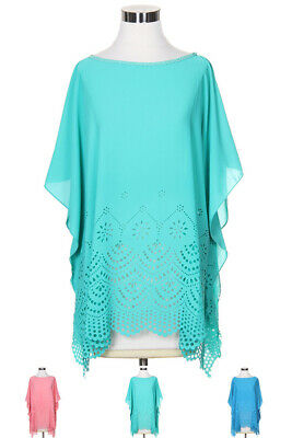 ScarvesMe Women's Handmade Pastel Decorative Cut Out Detail Decorative Poncho