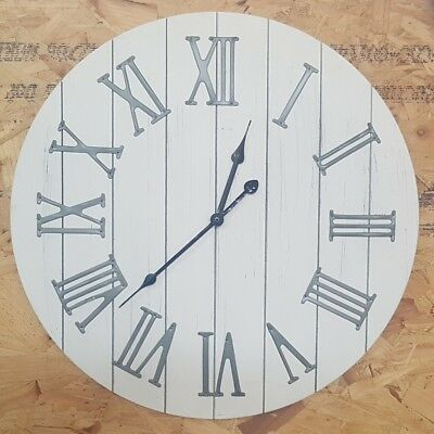 Large Vintage White Washed Wooden Wall Clock with Metal Roman Numerals 50cm Gift