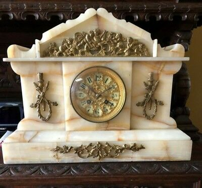 Antique Late 1800's French Onyx & Gilt Ormolu Mantle Clock
