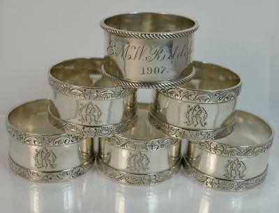 Boxed Set of Six Sterling Silver Elkington & Co Napkin Rings