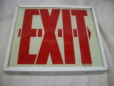 Vintage Glass Exit Sign Glow in the Dark / 120 v