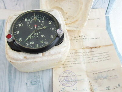 AChS-1 2 DAYS MILITARY AIRCRAFT MIG SU Cockpit USSR vintage CLOCK With a Box