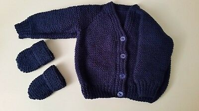 Baby  Hand Knitted Cardigan, + Mittens, Navy Blue , 3-6 Months, Long Sleeve, New