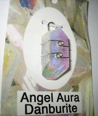 "Rare!!! 1.1"" A+++ Angel Aura Danburite Crystal Sterling Silver Wire Wrap Pendant"
