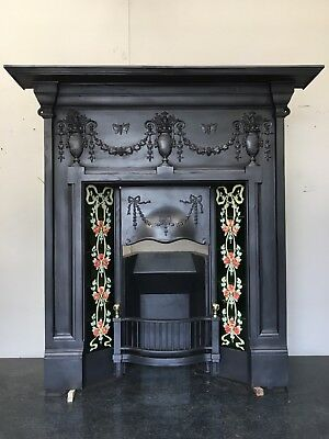 Original Restored Antique Cast Iron Victorian Tiled Fireplace Insert (QP037)