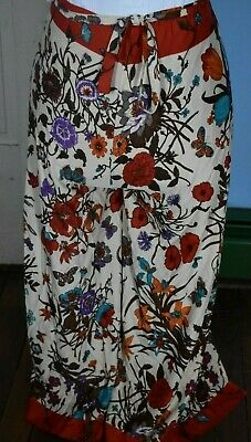 17ff4a647b Vtg Women's PALAZZO PANTS Wide Leg Nylon Floral Fabric Drawstring Wrap  Around