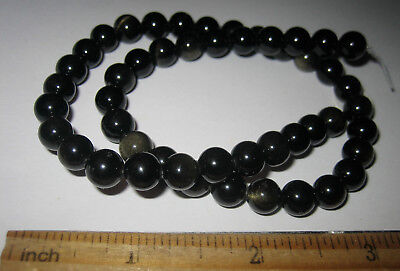 """15"""" POLISHED 15mm NATURAL GOLD SHEEN OBSIDIAN ROUND STONE BEAD STRAND MEXICO 32g"""