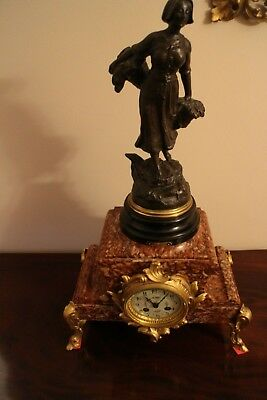 Victorian  French Rouge Marble 8 Day Mantel Clock Statue  Fully Working