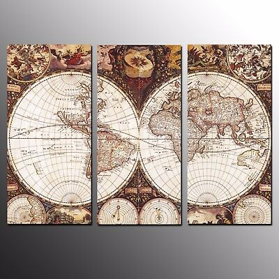 Canvas Art Prints World Map Wall Art Canvas Painting For Home Decor-3Pcs